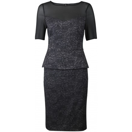 Ex Kaliko Ladies Black Grey Peplum Lace Party Occasion Evening Dress £22.50 Click to visit High Street Outlet