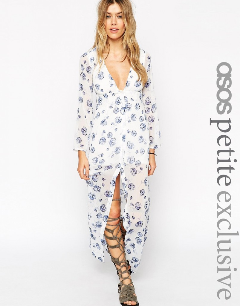 ASOS PETITE Maxi Dress with Button Front in Blue Floral Print £45.00 click to visit ASOS