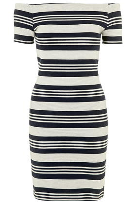 Striped Bardot Bodycon Dress     Price: £32.00 click to visit Topshop