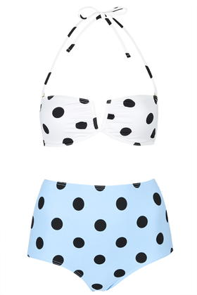 Polka Dot Bandeau Bikini Set     Price: £34.00 click to visit Topshop