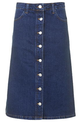 MOTO Denim Button Through Midi Skirt     Price: £30.00 click to visit Topshop
