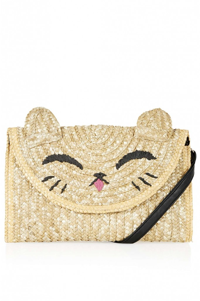 Happy Cat Straw Clutch     Price: £20.00 click to visit Topshop