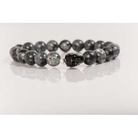 grey labradorite and skull bracelet Model tt4js014 £75 click to visit terryterry