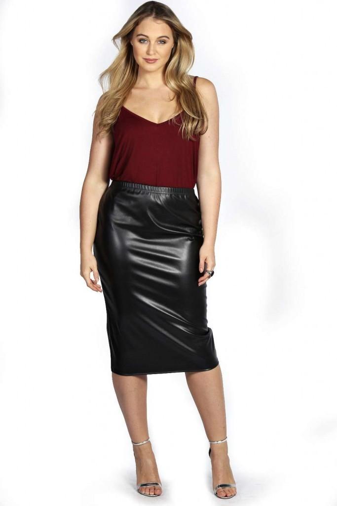Keira PU Midi Skirt £15 click to visit Boohoo