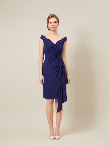 NAVY RUCHED COCKTAIL DRESS Item No. 010037864 £299.00 click to visit Jacques Vert