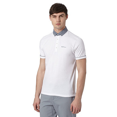 Ben Sherman White chambray collar polo shirt now £32 click to visit Debenhams
