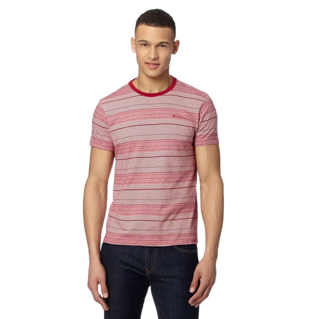 Ben Sherman Red fine stripe print t-shirt now £24 click to visit Debenhams