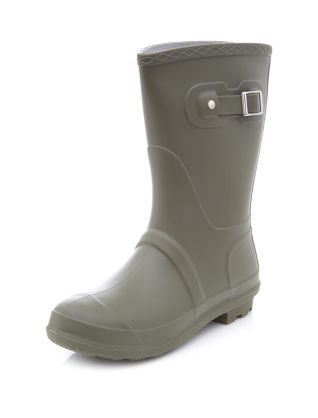 Khaki Short Buckle Strap Wellies £19.99 click to visit New Look