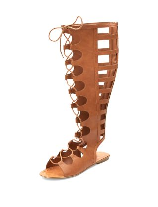 Tan Cut Out Lace Up High Leg Sandals £34.99 click to visit New Look
