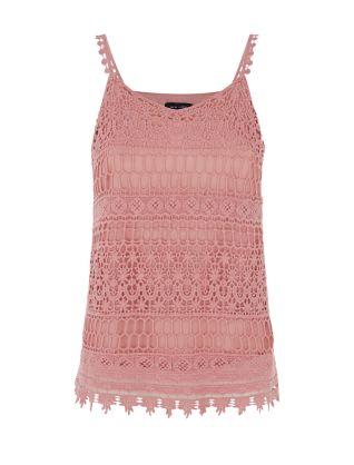 Dark Pink Crochet V Neck Cami £17.99 click to visit New Look