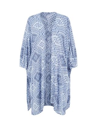Blue Tribal Print Longline Kimono Now £17.00Was £22.99 click to visit New Look