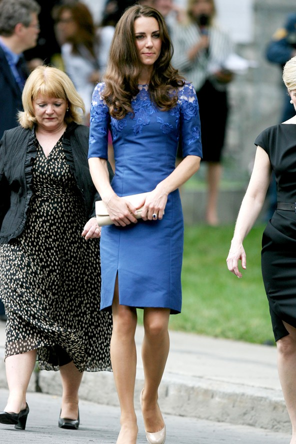Kate Middleton just loves blue lace and wears it a lot.