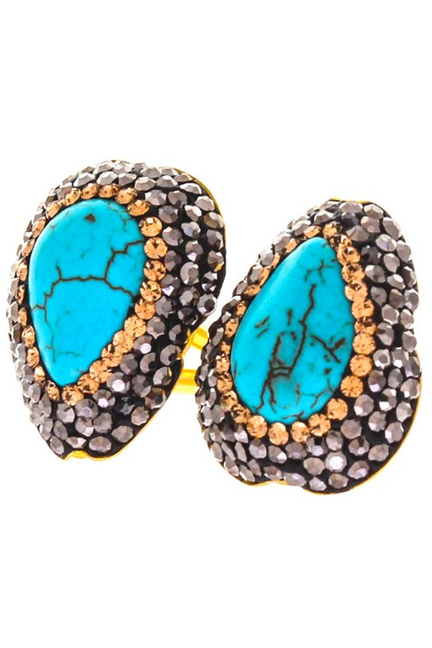 Soru Turquoise Double Ring 18ct Yellow Gold Vermeil £120.00 click to visit Baar and Bass