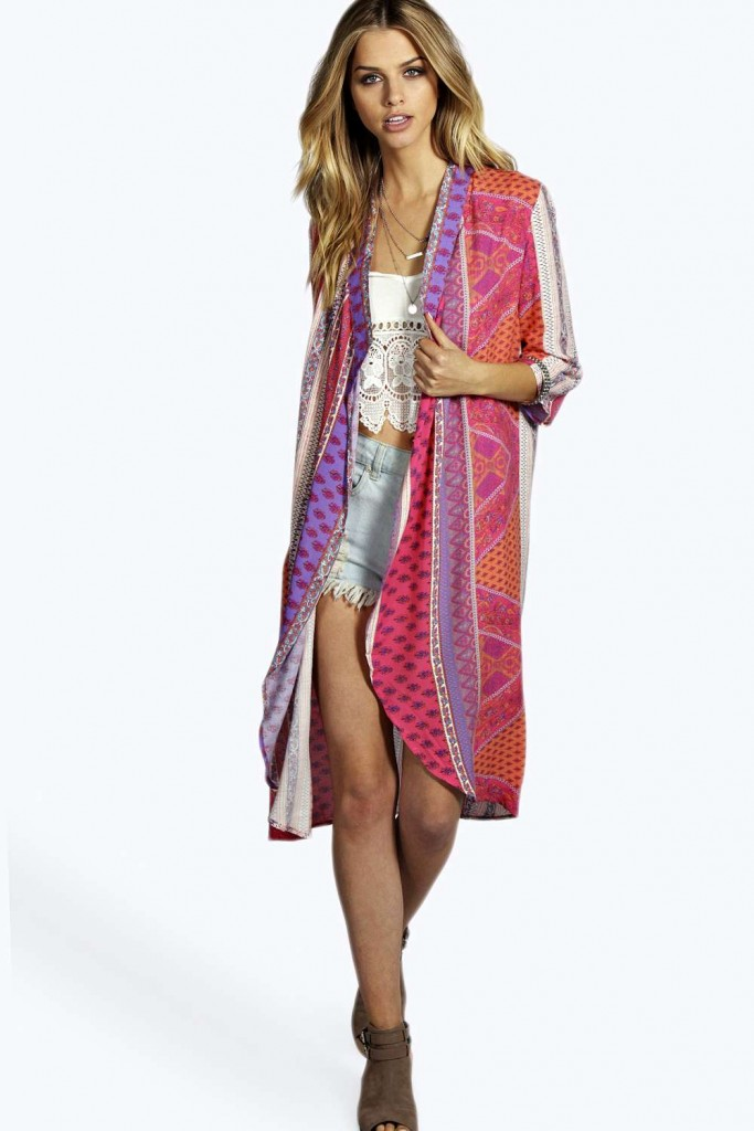 Eloise Scarf Print Long Kimono Product code: azz01031 £18.00 click to visit BOOHOO