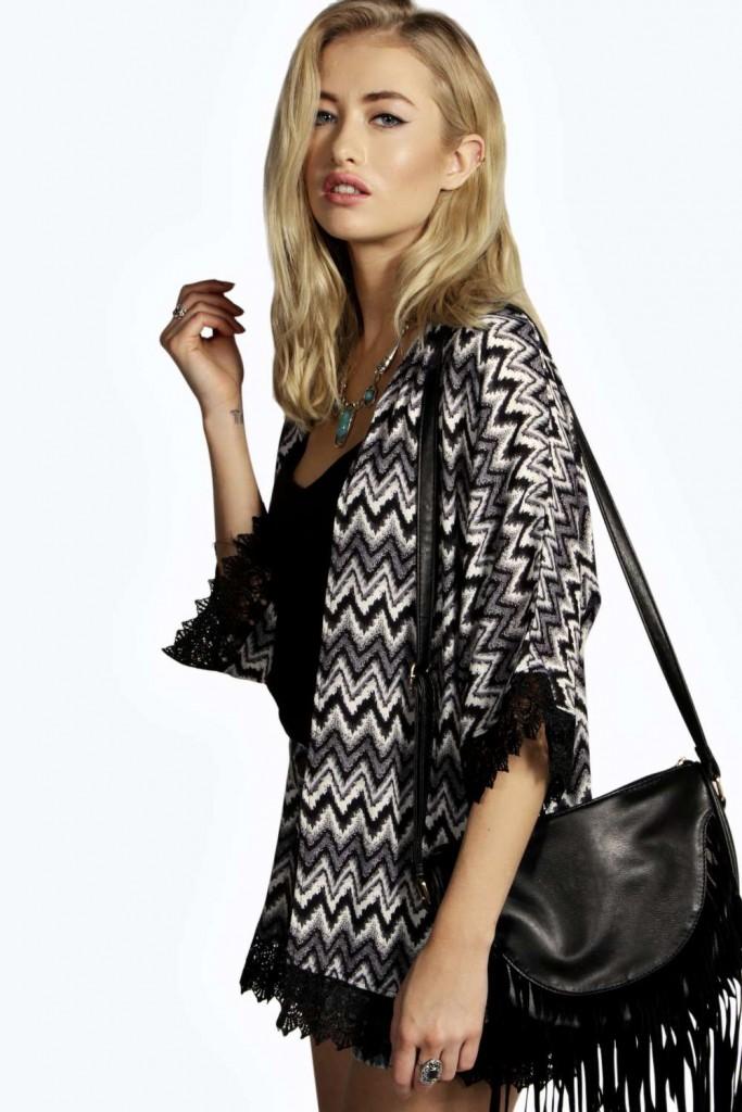 Scarlett Zig Zag Print Crochet Trim Kimono £18 click to visit Boohoo