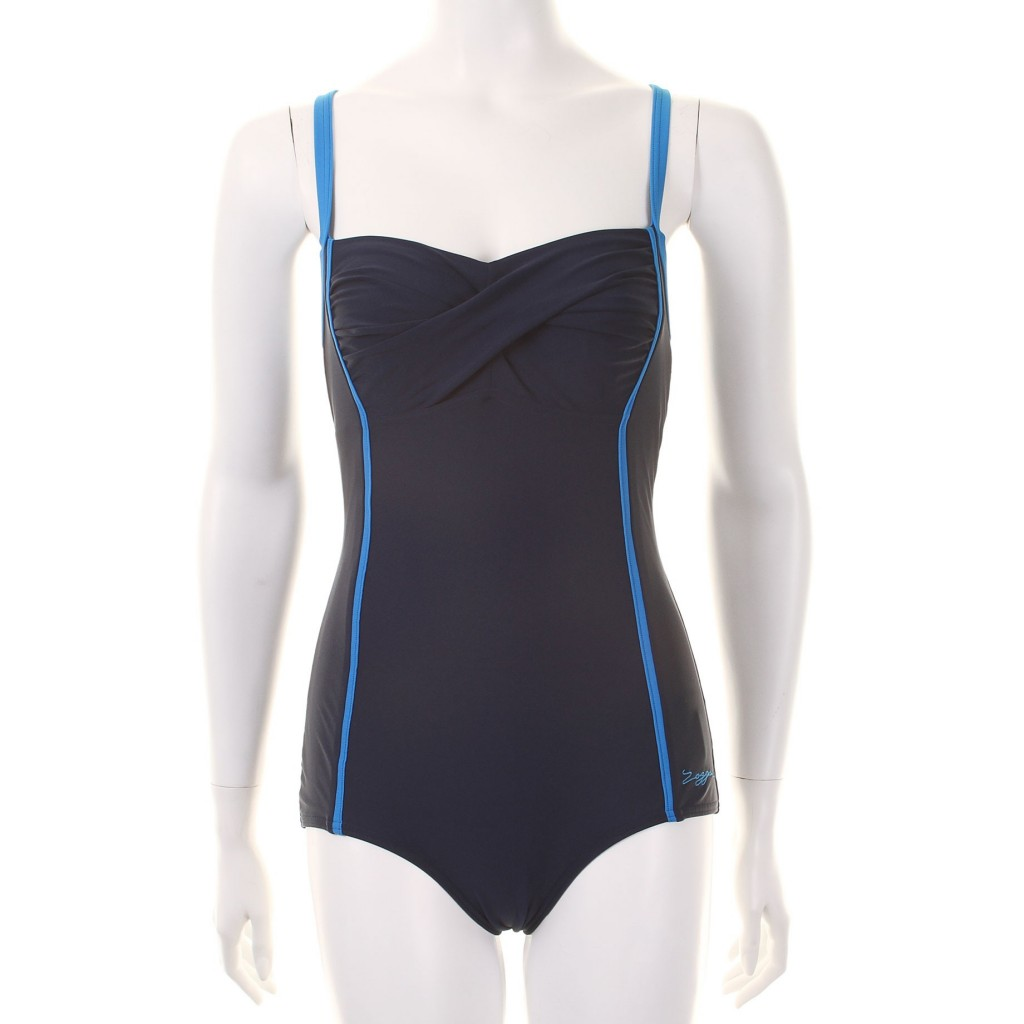 Zoggs Womens Blue Bazaar Twist Booty Suit - Navy / Blue now £23 click to visit Swimshop