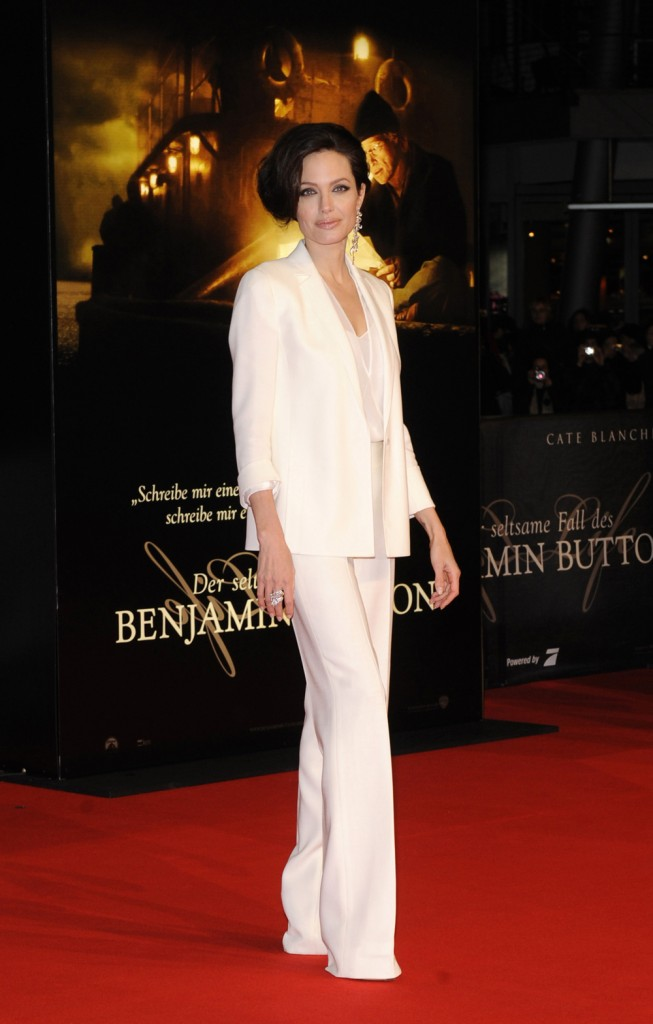 Angelina looks so chic in this white suit