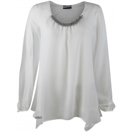 Ex Wallis White Necklace Drapey Long Sleeved Blouse Top £13.75 click to visit High Street Outlet