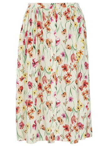 Meadow Floral Print Button Midi Skirt     Was £24.00     Now £18.00 click to visit Dorothy Perkins