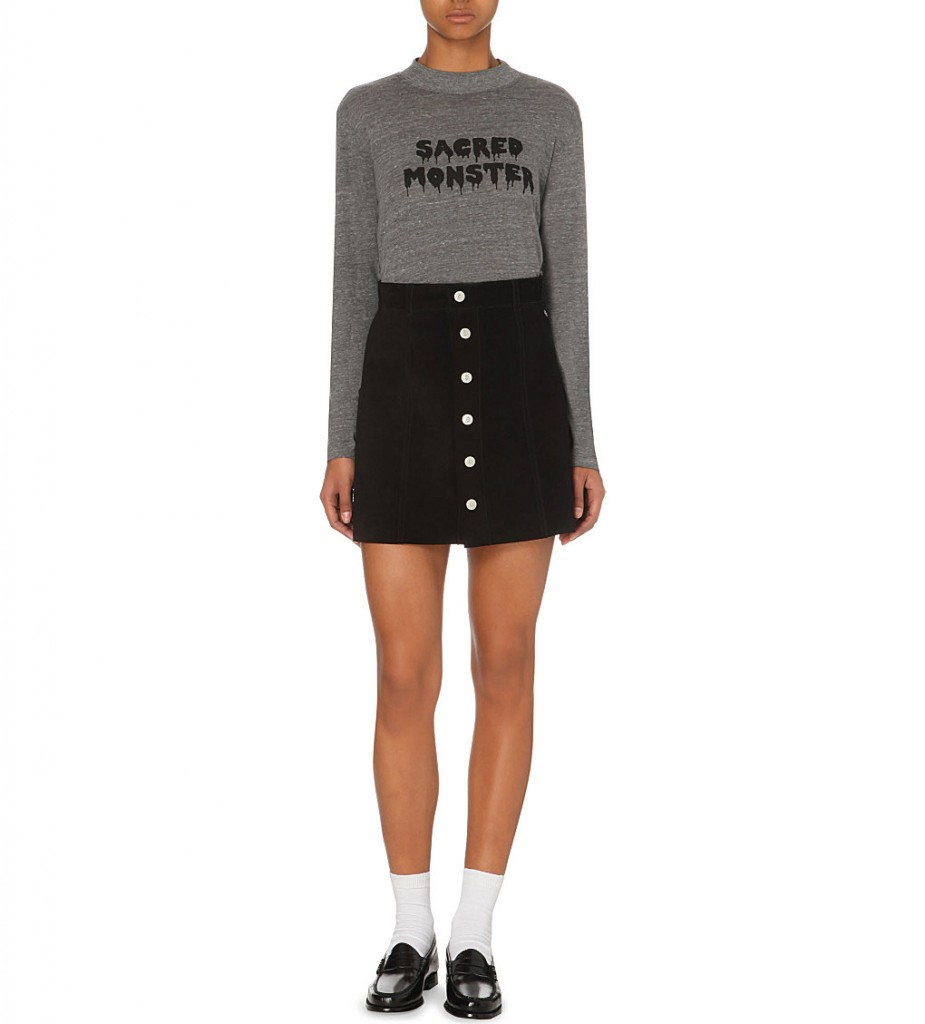 ALEXA CHUNG FOR AG The Gove button-up suede skirt     £760 click here to view