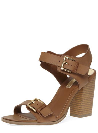 Tan buckle block sandals     Price: £29.00 click to visit Dorothy Perkins