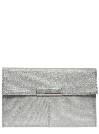 Silver nisco tab clutch bag     Price: £10.00 click to visit Dorothy Perkins