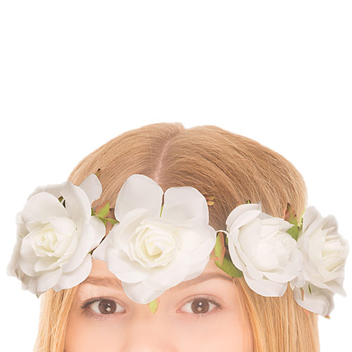Large White Rose Flower Part Crown £10 click to visit Claire's