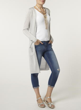 Silver Longline Sparkle Yarn Cardigan     Price: £26.00     Click to visit Dorothy Perkins