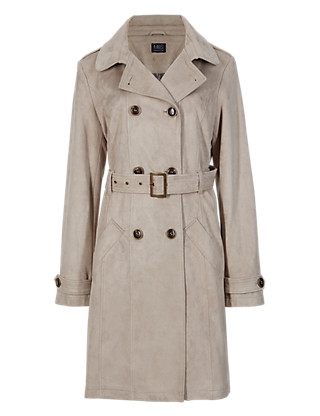 M&S COLLECTION Buttonsafe™ Faux Suede Belted Trench Coat £69.00 click to visit Marks and Spencer