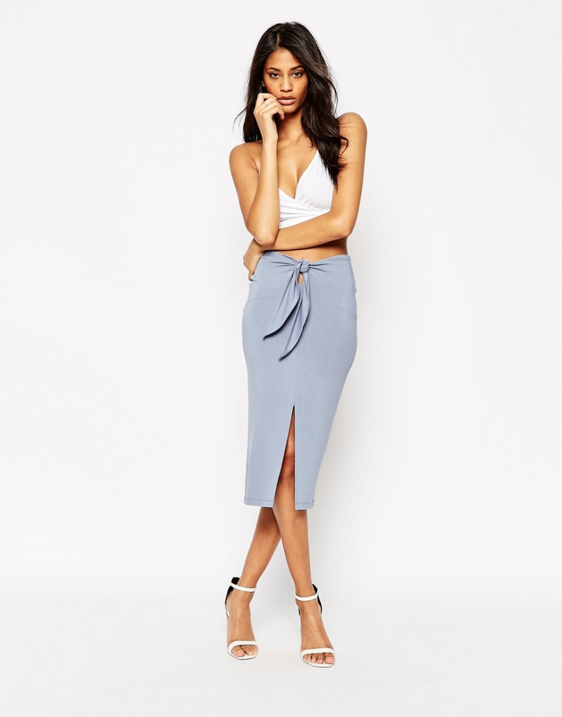 ASOS Midi Skirt With Tie Front £22.00 Click to visit ASOS