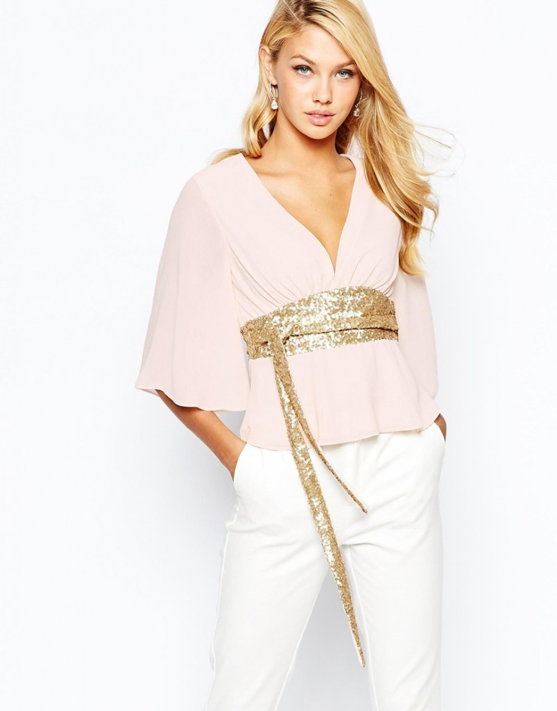 TFNC Kimono Sleeve Top With Sequin Obi Belt £32.00 click to visit ASOS