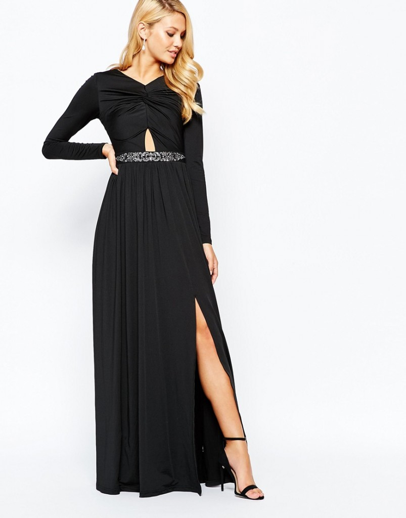 Little Mistress Knot Front Maxi Dress with Embellished Waist and Cut Out Detail £65.00 click to visit ASOS