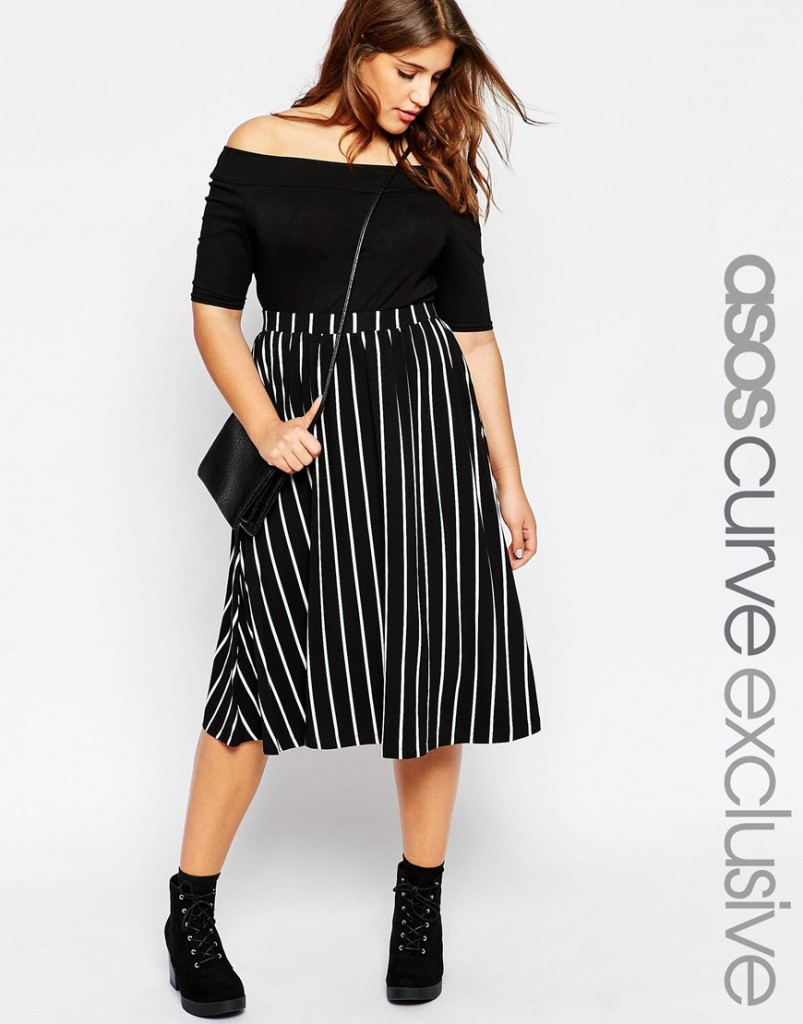 ASOS CURVE Full Midi Skirt in Stripe now £15.00 click to visit ASOS