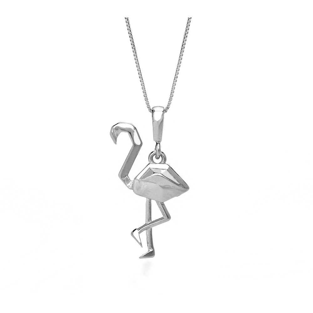 John Greed Origami Flamingo White Gold Plated Silver Necklace £19.95 click to visit John Greed