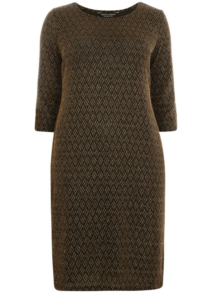 DP Curve Gold Sparkle Bodycon Dress     Price: £26.00 click to visit Dorothy Perkins