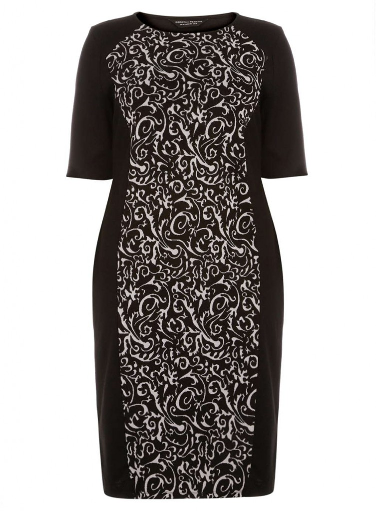 DP Curve Mono Baroque Panel Silhouette Bodycon Dress     Price: £28.00 click to visit Dorothy Perkins