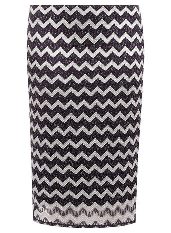 DP Curve Navy and Silver Zig Zag Tube Skirt     Price: £24.00 click to visit Dorothy Perkins