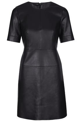 Faux Leather Shift Dress     Price: £55 click to visit Topshop