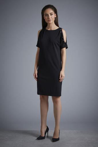 W Cold Shoulder Embellished Dress     Was £65.00 Now £52.00 click to visit Wallis