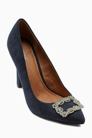 Navy Square Trim Flared Heel Court Shoes £32 click to visit Next
