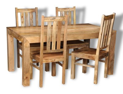 Mango Light 160cm Dining Table & 4 Mango Chairs £399.95 click to visit Trade Furniture Company