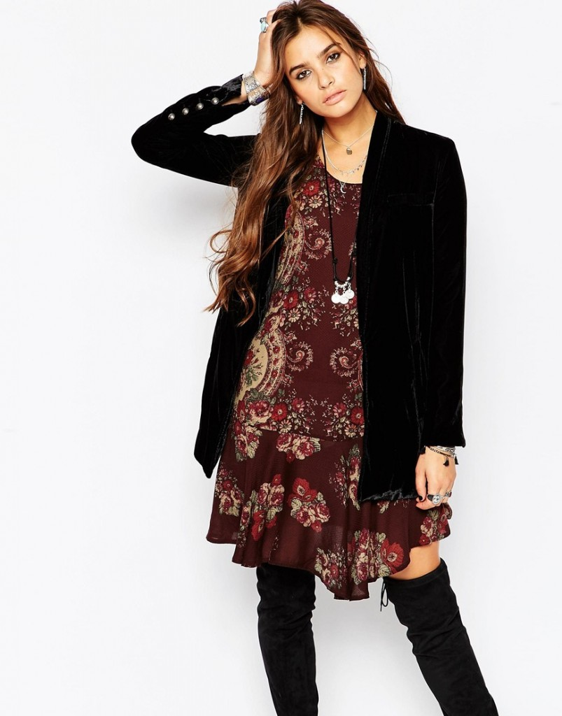 Free People Slouchy Velvet Blazer in Black £154.00 click to visit ASOS