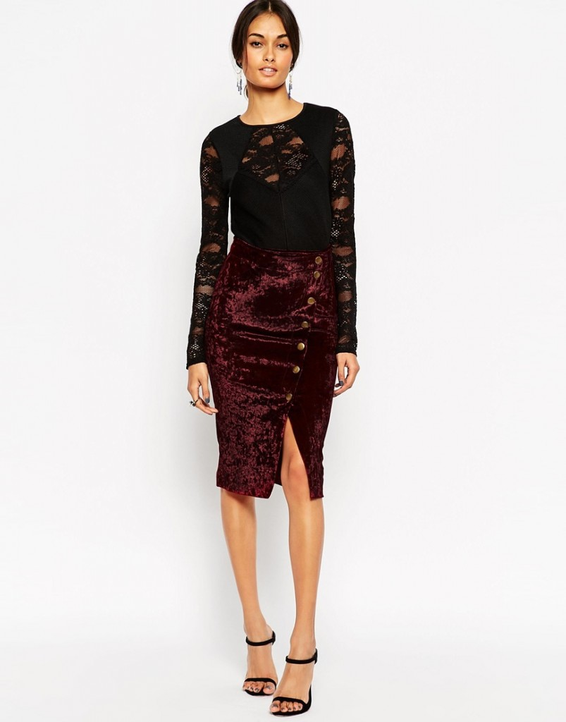 ASOS Wrap Skirt in Velvet With Asymmetric Buttons £30.00 click to visit ASOS
