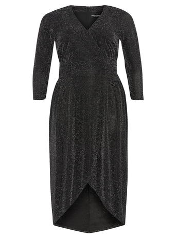 DP Curve Black and Silver Wrap Dress     Price: £50.00 click to visit Dorothy Perkins