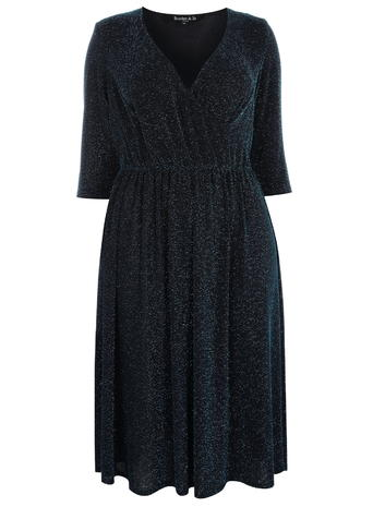 b36a6b0b41f88 Scarlett and Jo Blue Glitter Jersey Dress Price  £55.00 click to visit Evans