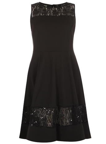 Black Lace Panel Dress     Price: £50.00 Click to visit Evans