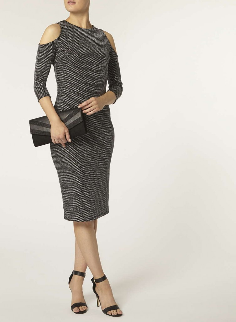 Silver cold shoulder tube Dress     Was £25.00     Now £18.75 Click to visit Dorothy Perkins