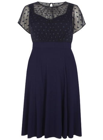 Scarlett and Jo Spot Mesh Dress     Price: £60.00 Click to visit Evans
