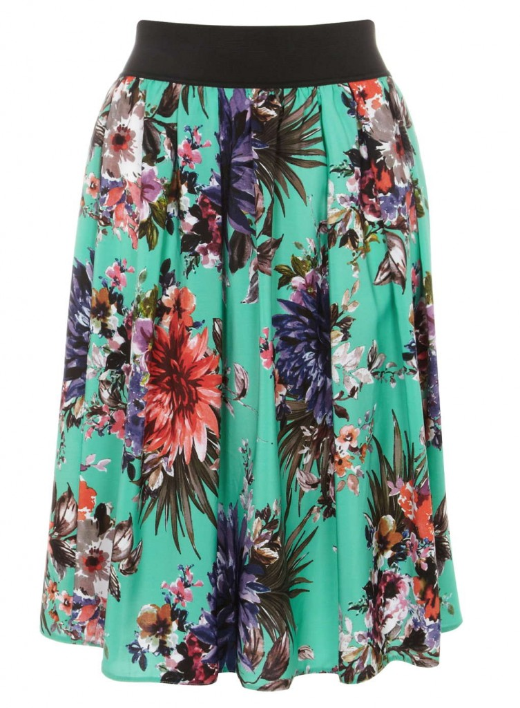 Scarlett and Jo Green Printed Skirt     Was £38.00 Now £20.00 click to visit Evans