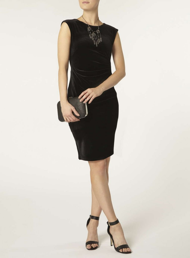 **Billie & Blossom Black velour bodycon dress     Was £32.00     Now £24.00 click to visit Dorothy Perkins